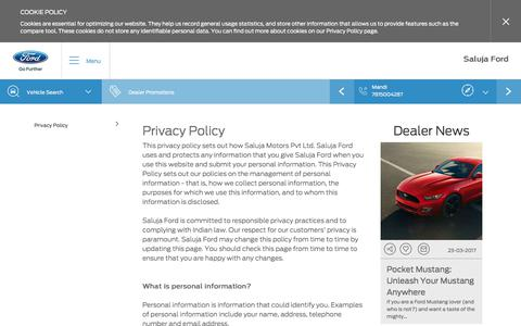 Screenshot of Privacy Page salujaford.in - Privacy Policy|Saluja Ford of Chandigarh Mohali & Mandi - captured Oct. 4, 2017