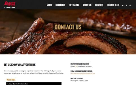 Screenshot of Contact Page logansroadhouse.com - Contact - Logans Roadhouse - captured Feb. 4, 2016