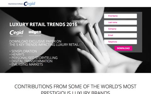 Screenshot of Landing Page cegid.com - Luxury Retail Report 2016 Download - captured Sept. 20, 2018