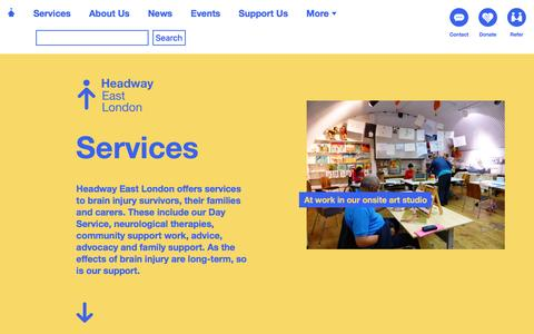 Screenshot of Services Page headwayeastlondon.org - Headway East London - captured July 12, 2016
