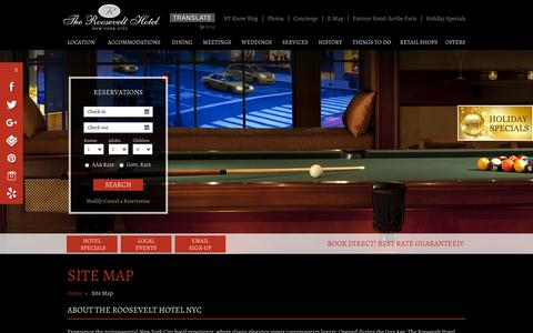 Screenshot of Site Map Page theroosevelthotel.com - Midtown Manhattan Hotel Site Map - The Roosevelt Hotel NYC - captured Nov. 23, 2015