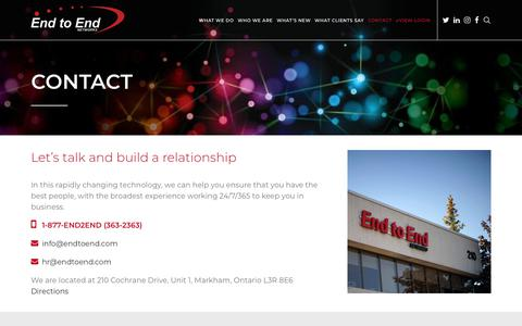 Screenshot of Contact Page endtoend.com - Contact Us   End to End Networks - captured Sept. 28, 2018