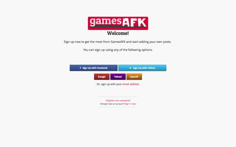 Screenshot of Signup Page gamesafk.com - GamesAFK : video games discussion beyond blogs and forums - captured Sept. 29, 2014