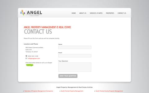 Screenshot of Contact Page angelpm.com - Contact Us: South florida(FL) rental properties, Real estate property management company miami, Palm beach county realtors - captured Oct. 4, 2014