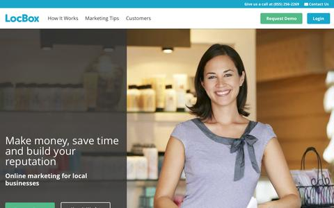 Screenshot of Home Page locbox.com - Online Marketing for Small and Local Businesses - LocBox - captured Oct. 1, 2015
