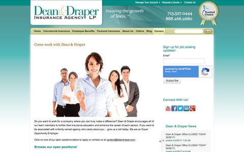Screenshot of Jobs Page deandraper.com - Careers - captured March 15, 2018