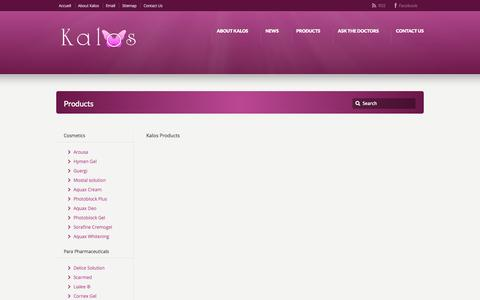 Screenshot of Products Page kalos-int.com - Products - Kalos - captured Oct. 6, 2014