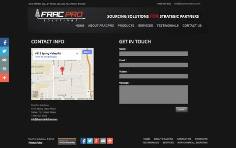 Screenshot of Privacy Page Contact Page fracprosolutions.com - Contact FracPro Solutions - captured Oct. 23, 2014