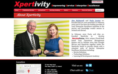 Screenshot of About Page xpertivity.com - about-xpertivity-enterprise-excellence - captured Aug. 18, 2016