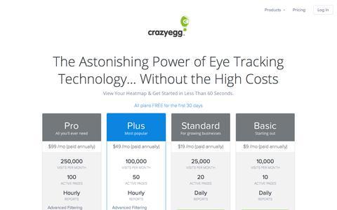 Screenshot of Pricing Page crazyegg.com - A/B Testing & Heatmaps - Crazy Egg Website Optimization Software - captured Oct. 19, 2017