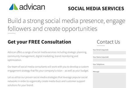 Screenshot of Landing Page advican.com - Social Media Consultants | Advican.com - captured July 8, 2016