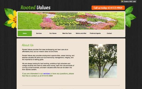 Screenshot of Home Page rootedvalues.com - Rooted Values LLC - captured Oct. 9, 2014