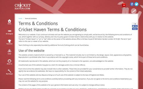 Screenshot of Terms Page crickethaven.com - Terms & Conditions - captured July 23, 2018