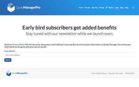 Screenshot of Login Page quotemanagerpro.com - Quote Manager Pro |   Login - captured Sept. 30, 2014