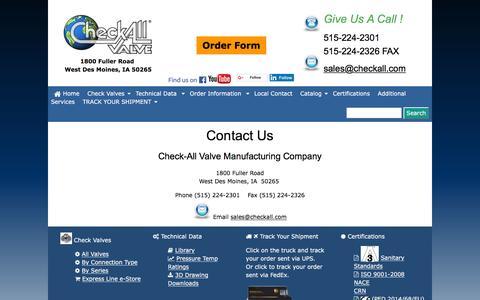 Screenshot of Contact Page checkall.com - Contact Us - Check-All Valve Mfg. Co. - captured Nov. 5, 2016