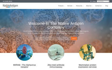 Screenshot of Home Page thenativeantigencompany.com - Home - The Native Antigen Company - captured Nov. 19, 2018