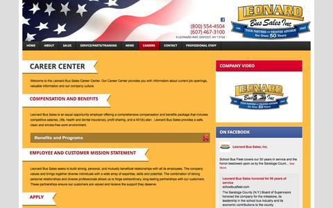 Screenshot of Jobs Page leonardbus.com - Career Center - Leonard Bus Sales Inc.Leonard Bus Sales Inc. - captured Jan. 28, 2016