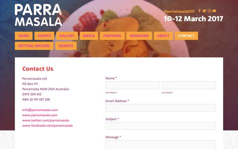 Screenshot of Contact Page parramasala.com - Contact — Parramasala - captured May 14, 2017