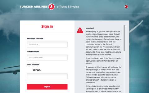 Screenshot of Login Page turkishairlines.com - e-Ticket & Invoice - captured June 20, 2017