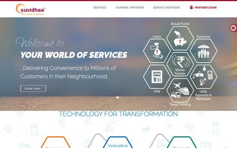 Screenshot of Home Page suvidhaa.com - Suvidhaa Infoserve Pvt. Ltd. - captured Oct. 2, 2018