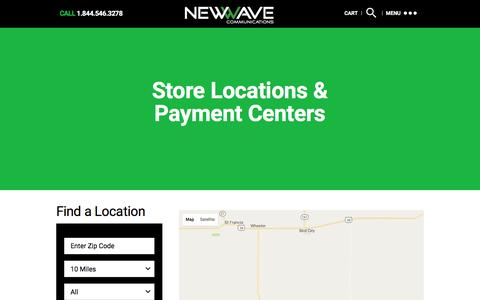Screenshot of Locations Page newwavecom.com - Store Locations & Payment Centers Â« NewWave Communications - captured Oct. 6, 2016