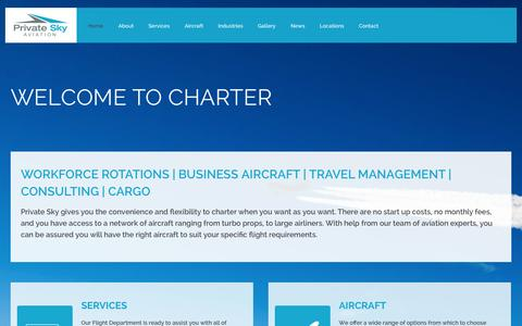 Screenshot of Home Page privateskyaviation.com - Private Sky Aviation - captured Oct. 3, 2014