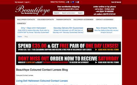 Screenshot of Blog beautifeye.co.uk - Beautifeye Coloured Contact Lenses Blog  | Coloured Contact Lenses - captured Oct. 30, 2014