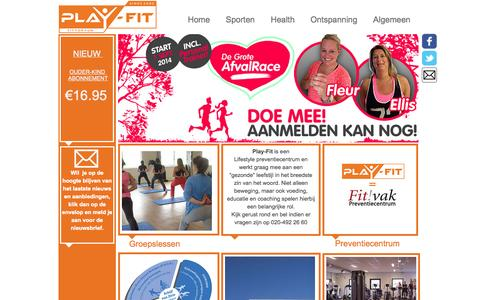 Screenshot of Home Page play-fit.nl - Play-Fit Fitness centrum - captured Sept. 30, 2014