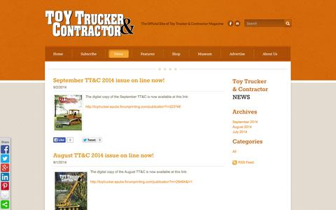 Screenshot of Press Page toytrucker.com - Toy Trucker and Contractor - News - captured Nov. 2, 2014