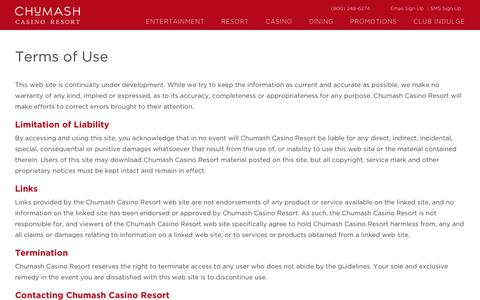 Screenshot of Terms Page chumashcasino.com - Terms of Use | The Chumash Casino Resort - captured Sept. 28, 2018