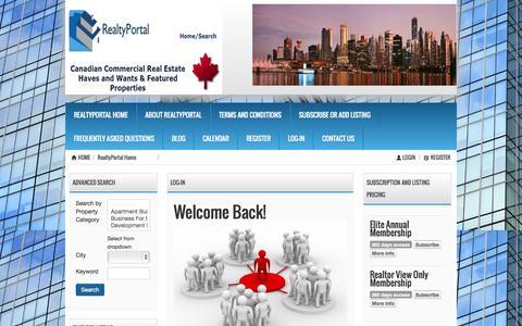 Screenshot of Login Page realtyportal.ca - Log-In « RealtyPortal.ca RealtyPortal.ca - captured Nov. 4, 2014