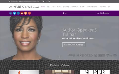 Screenshot of Home Page aundreaywilcox.com - Aundrea Y. Wilcox | Small Business Consulting - captured Sept. 7, 2015