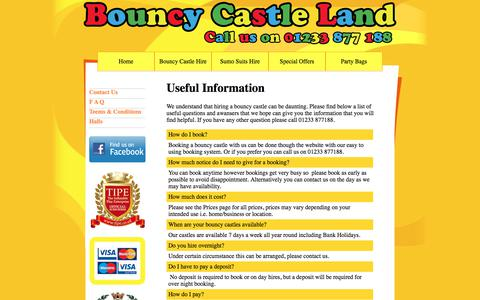 Screenshot of FAQ Page bouncy-castle-land.co.uk - F A Q Bouncy Castle Land - captured Aug. 3, 2018