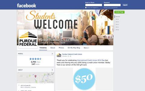 Screenshot of Facebook Page facebook.com - Purdue Federal Credit Union - West Lafayette, IN - College & University, Bank | Facebook - captured Oct. 22, 2014