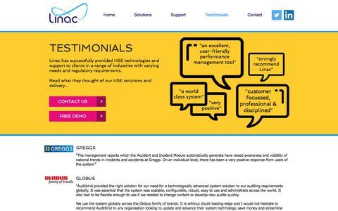 Screenshot of Testimonials Page linactechnology.com - Testimonials - captured Nov. 9, 2016