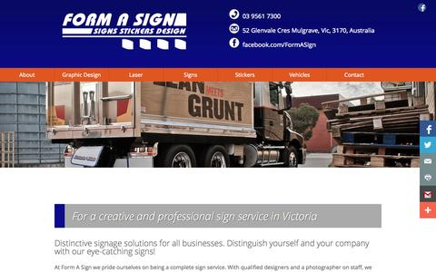 Screenshot of Home Page Menu Page formasign.com.au - Form a Sign - Vehicle Commercial Signage Stickers Melbourne - captured Oct. 6, 2014