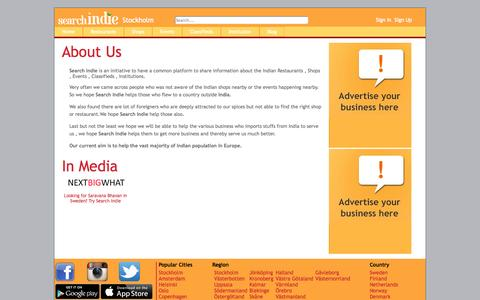 Screenshot of About Page searchindie.com - About Us Stockholm - Search Indie - captured Oct. 26, 2014