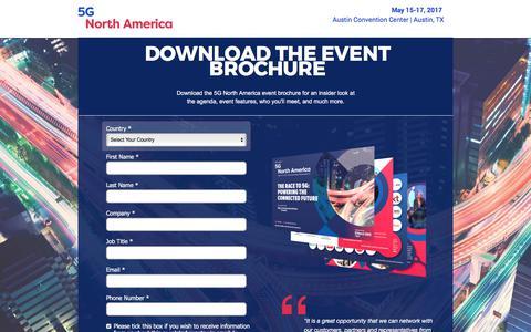 Screenshot of Landing Page knect365.com - 5G North America 2017 Event Brochure - captured July 25, 2017