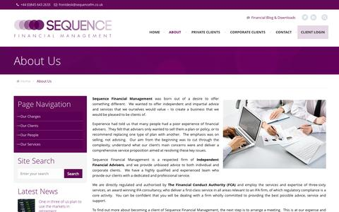 Screenshot of About Page sequencefm.co.uk - About Us - Sequence Financial Management - captured Nov. 2, 2014
