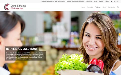 Screenshot of Products Page cunninghams.co.uk - Cunninghams EPoS Solutions - captured Feb. 2, 2016