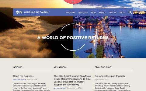 Screenshot of Home Page omidyar.com - Home   Omidyar Network - captured Sept. 23, 2014