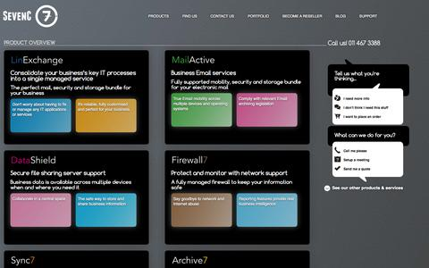 Screenshot of Home Page Products Page sevenc.co.za - Business IT Strategy & Support Services Company - captured Oct. 7, 2014