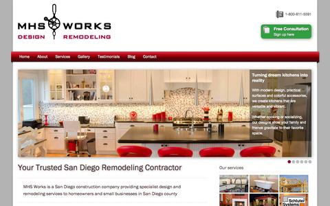 Screenshot of Home Page mhs-works.com - San Diego Home Remodeling Contractor | MHS Works - captured Oct. 3, 2014