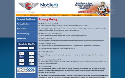 Screenshot of Privacy Page mobileair.com - Privacy Policy | Mobile Air - Portable Air Conditioner and Heater Rental - captured Oct. 26, 2014