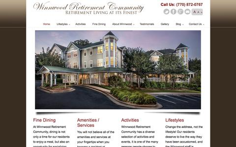 Screenshot of Home Page winnwoodretire.com - Retirement Community Marietta Georgia- Winnwood Retirement - captured Oct. 21, 2017