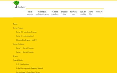 Screenshot of Site Map Page catalyzer.co - Catalyzer Startup Accelerator - Startup Commune - captured Oct. 2, 2014