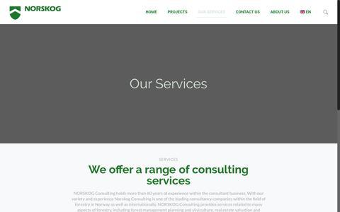 Screenshot of Services Page norskog.no - Our Services - Norskog - captured Oct. 22, 2018