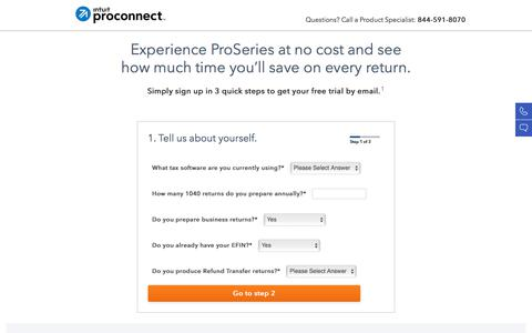 Screenshot of intuit.com - Try Intuit ProConnect ProSeries Tax Software for Free | Intuit ProConnect - captured July 22, 2017