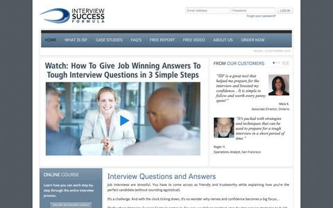 Screenshot of Home Page interviewsuccessformula.com - Interview Questions and Answers - captured Sept. 22, 2014