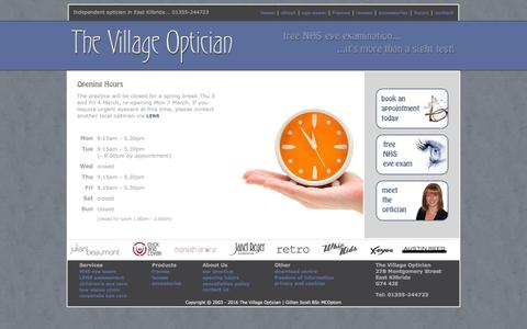 Screenshot of Hours Page thevillageoptician.co.uk - The Village Optician, East Kilbride - an independent optometrist providing professional eye care services. 01355-244723 - captured March 11, 2016